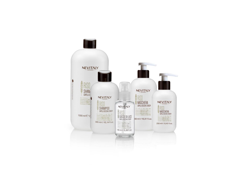 Nevitaly Sustainable, Riso, linea di prodotti professionali per capelli secchi e crespi.